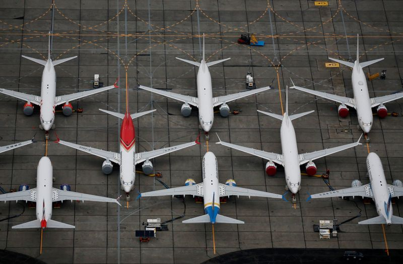 © Reuters. FILE PHOTO: Grounded Boeing 737 MAX aircraft are seen parked at Boeing facilities at Grant County International Airport in Moses Lake