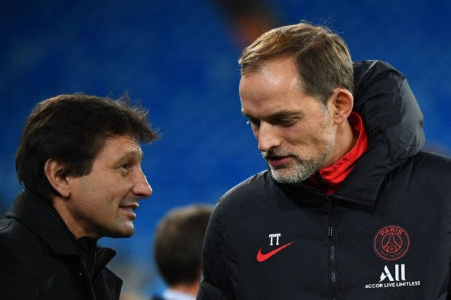 Paris Saint-Germain's Brazilian sporting director Leonardo (L) talks to Paris Saint-Germain's German coach Thomas Tuchel (R) during a training session at the Santiago Bernabeu stadium in Madrid on November 25, 2019, on the eve of their UEFA Champions League football match against Real Madrid CF.