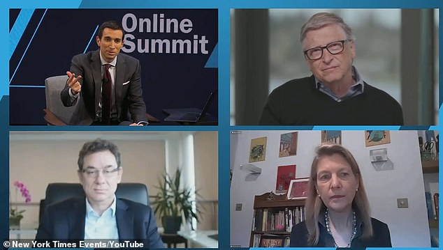 The New York Times DealBook Online Summit was held on Tuesday attended by (clockwise from top right) Microsoft co-founder Bill Gates, Heidi Larson from the Vaccine Confidence Project and Pfizer Inc CEO Albert Bourla