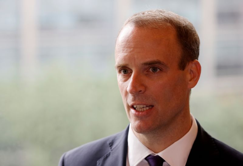 © Reuters. FILE PHOTO: Britain's Foreign Secretary Dominic Raab speaks during an interview with Reuters in Seoul