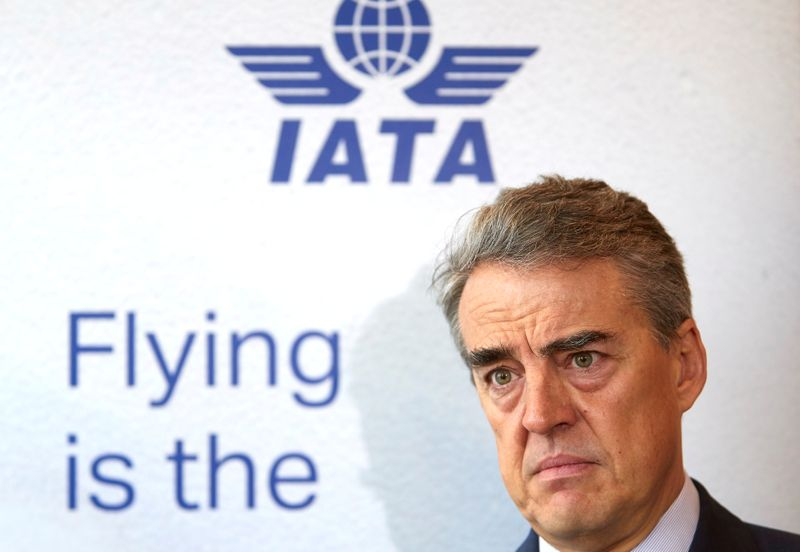 © Reuters. FILE PHOTO: IATA Director General and CEO de Juniac attends an interview with Reuters in Geneva