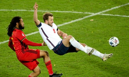 Harry Kane attempts the spectacular during England's 2-0 defeat by Belgium.