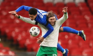 Jude Bellingham and the Republic of Ireland's Jeff Hendrick collide during the Nations League warm-up. This year England have conceded two goals in six games, both penalties.