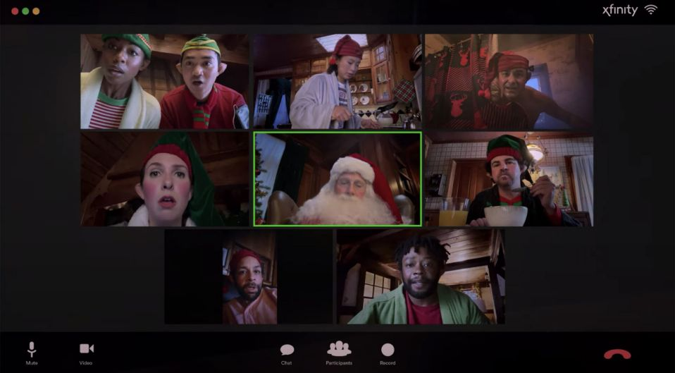 Even Santa and his elves have become well-versed in virtual calls.  (Xfinity / YouTube)