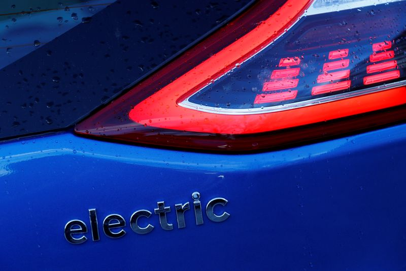 © Reuters. FILE PHOTO: A detail of an electric Hyundai car is seen in London