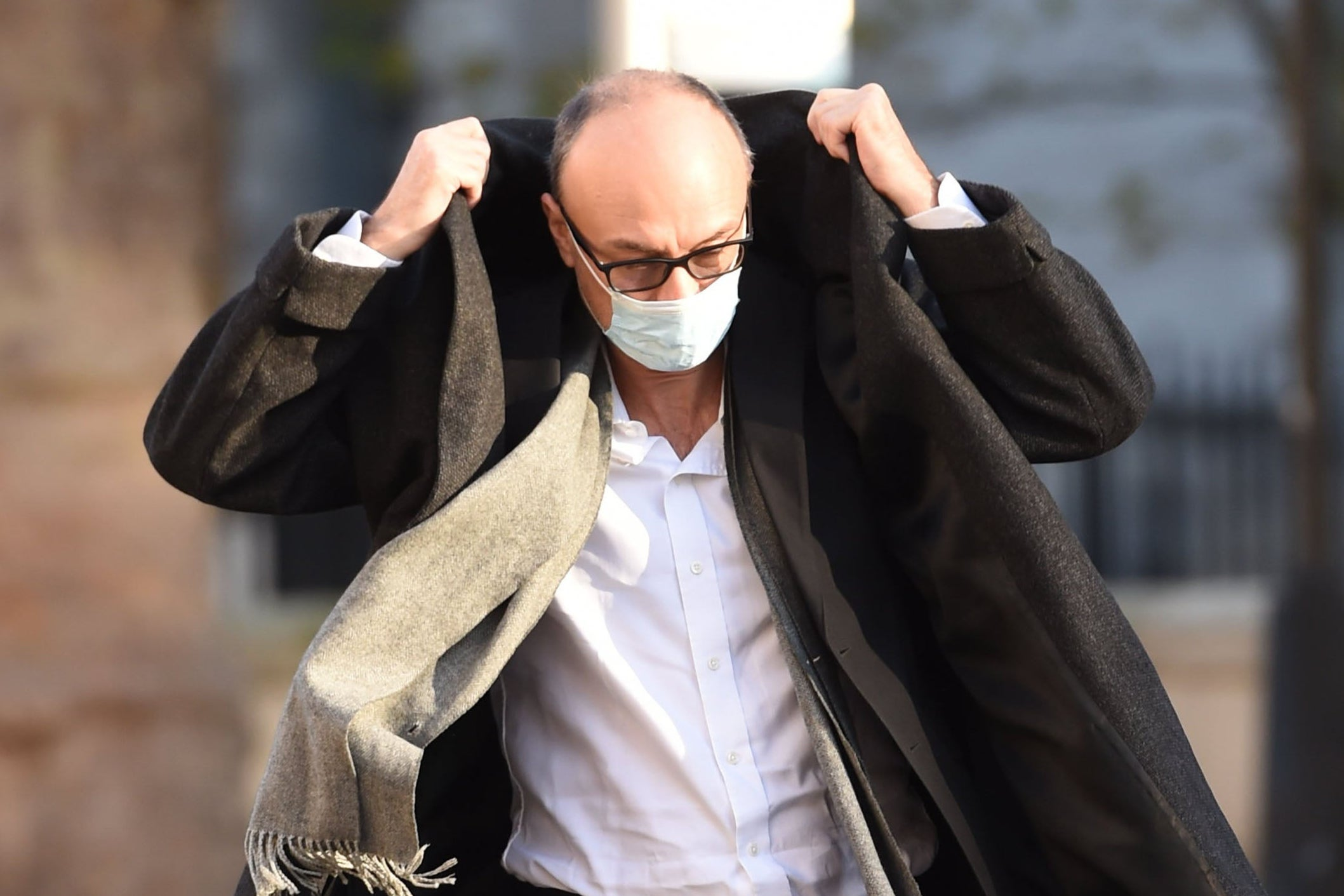 <p>Dominic Cummings arrives for work on Friday</p>