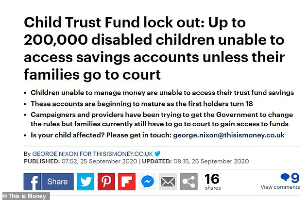 This is Money has reported on the problem facing disabled holders of Child Trust Funds and Junior Isas since late September