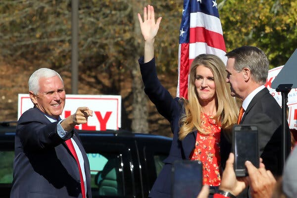 Senator Kelly Loeffler of Georgia at an election event on Friday with the state's other senator, David Perdue, and Vice President Mike Pence.