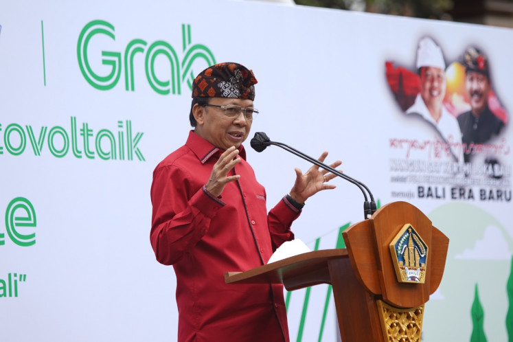Bali Governor I Wayan Koster at Grab's event in which 30 electric motorcycles (EMs) and seven public electric vehicle battery swap stations (SPBKLU) were launched in the island province on Nov. 26.