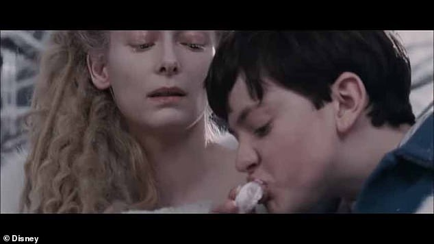 Scene from The Chronicles of Narnia: The Lion the Witch and the Wardrobe (2005), one of the films in the sample. The White Witch (Tilda Swinton) gives Edmund (Skandar Keynes) Turkish Delight