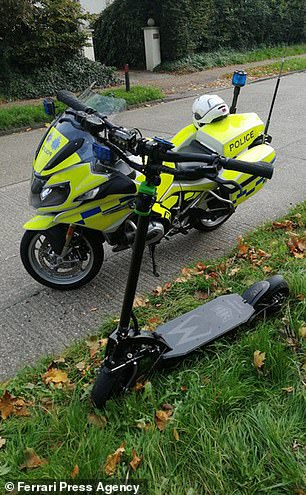 An E-scooter seized in Chichester, West Sussex after being spotted overtaking cars at more than 30mph and tailgating on a busy road