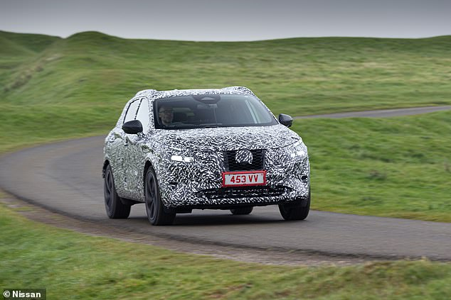 While heavily camouflaged to conceal its full identity, the new Qashqai looks like a beefed-up version of the smaller Juke SUV, which is also being built at the Sunderland plant