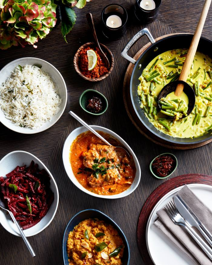 """Kolamba's chicken or vegan """"feasting boxes"""" feature the Soho Sri Lankan restaurant's curries, dals, chutneys and sides"""