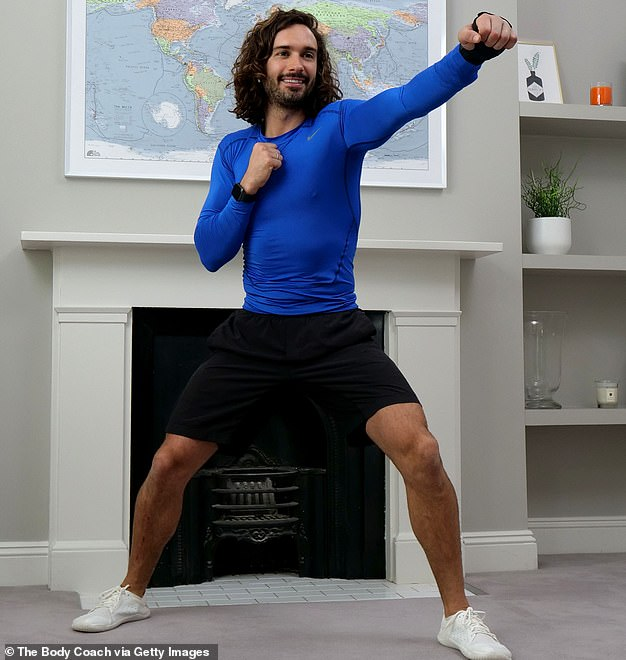 Joe Wicks, also known as The Body Coach, pictured teaching the UK's school children physical education live via YouTube on March 23 this year from his home in London