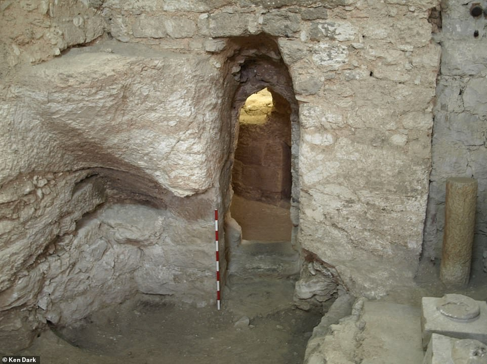 The first-century house at the Sisters of Nazareth site showing the rock-cut doorway and to its left part of the natural cave