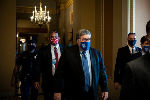 Attorney General William P. Barr at the Capitol on Monday.