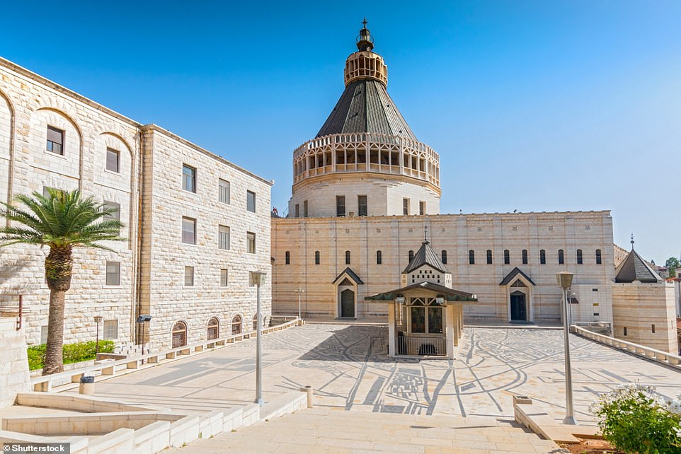 Exterior of Church of the Annunciation in the city of Nazareth in Galilee northern Israel as seen today. The Church of the Annunciation we see today had to be rebuilt over the centuries