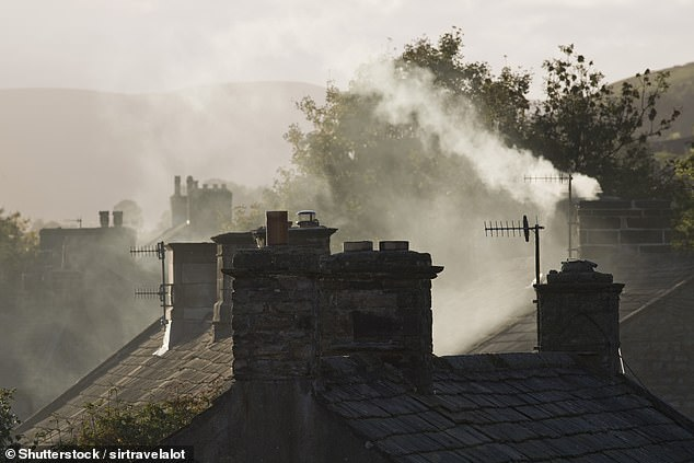 Peat-fuelled open fires emit higher particulate matter (PM) concentrations than coal and wood fires. Smoke coming from a chimney in the Yorkshire Dales (file picture)