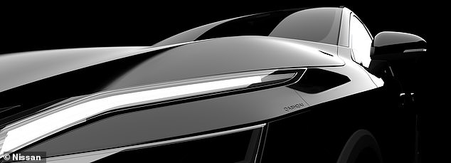 This teaser image of the Qashqai shows a section of thehorizontal V-shaped headlights