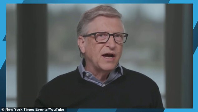 Gates (pictured) also predicted that more than 50% of business travel and more than 30% of days in the office will permanently disappear due to the pandemic