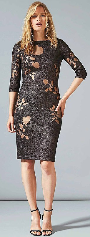 Debenhams Phase Eight – Gold Farah Foil midi dress £59 from £120 50% off
