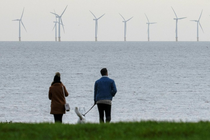 Wind turbines off the coast of Essex, England. UK prime minister Boris Johnson vowed to install enough wind turbines to power every home by 2030