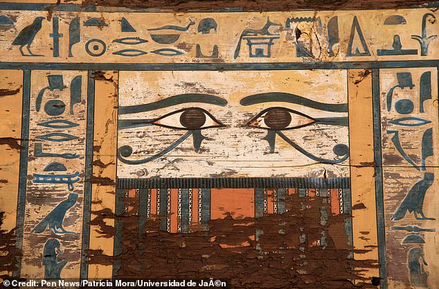 Pictured, the design on Sattjeni's sarcophagus.Sattjeni is one of the most important figures in the Middle Kingdom, being the mother of Heqaib III and Amaeny-Senb - two of the highest authorities of Elephantine under the reign of Amenemhat III, around 1800-1775 BC