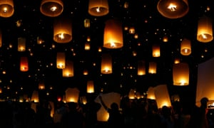flying candle during Loy krathong festival in chiang mai , Thailand