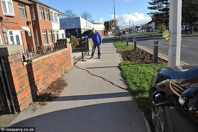 If someone trips and falls on an electric car's charging cable strewn across the pavement, who is liable?