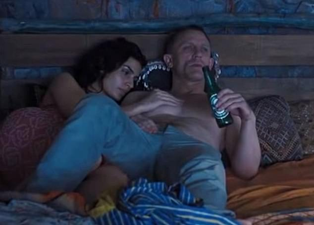 Pictured, Daniel Craig as James Bond gulping down beer in the 2012 film Skyfall. Alcoholic drinks were frequently observed in the researchers' sample