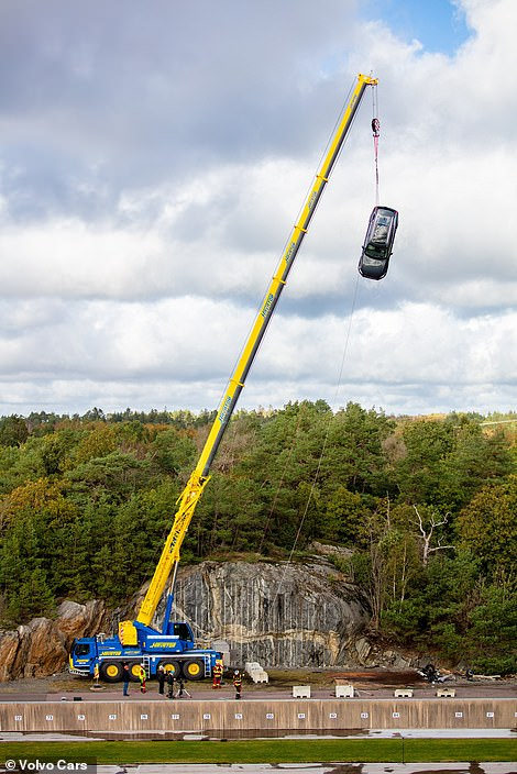 The Swedish car brand hoisted 10 of its models 30 metres into the air using a crane