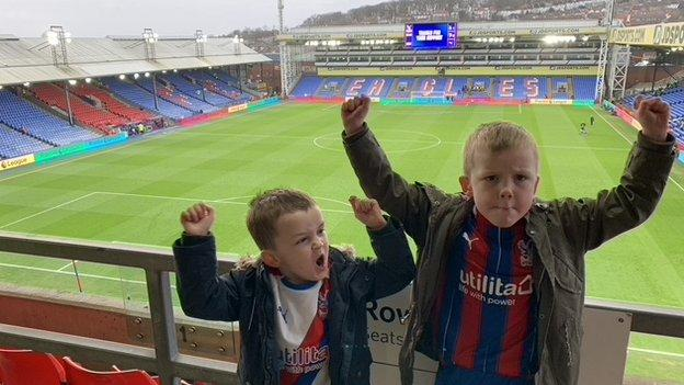 Dexter and Coby at Selhurst Park