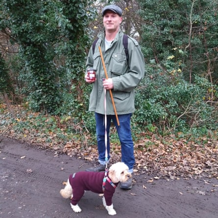 Forager Steve Woolnough and his dog, Billie.