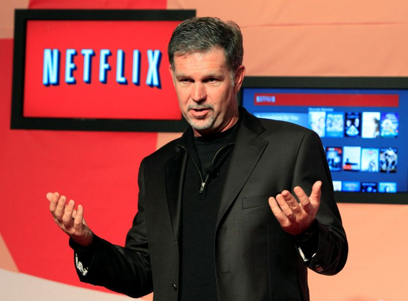 © Reuters. FILE PHOTO: Netflix CEO Hastings speaks during the launch of streaming internet subscription services for movies and television shows in Toronto