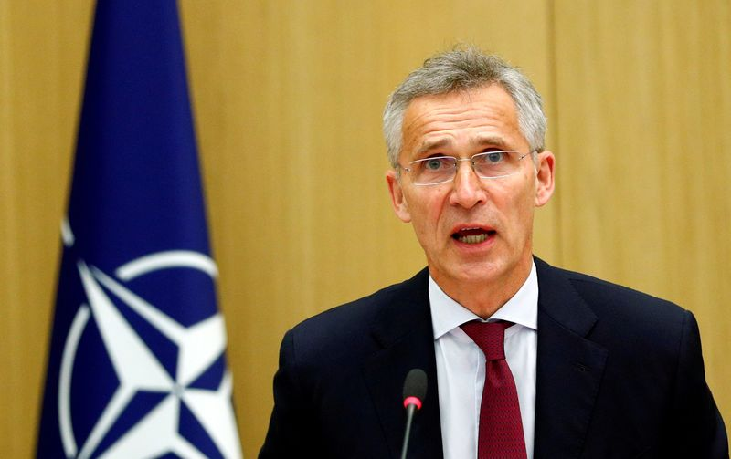 © Reuters. FILE PHOTO: NATO defence ministers meeting via teleconference in Brussels