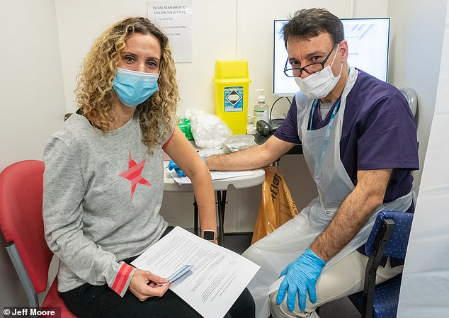Pictured: Dr Ellie Cannon with Dr A Sohrabe as she received the first of her two Covid-19 jabs