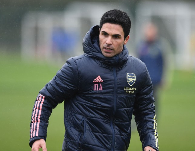 Arsenal manager Mikel Arteta during a training session at London Colney on December 18, 2020 in St Albans, England.