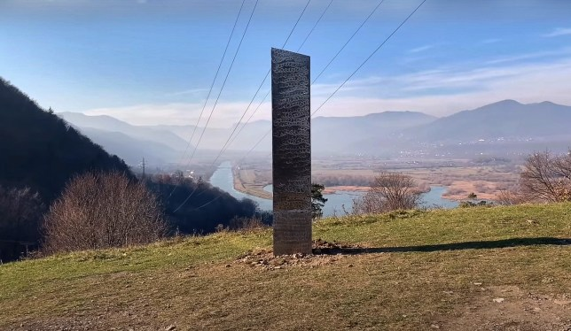 Mysterious metal monolith, similar to the one found in Utah, was discovered near an ancient Dacian fortress in Romania. (Stiri Piatra Neamt/Newsflash)