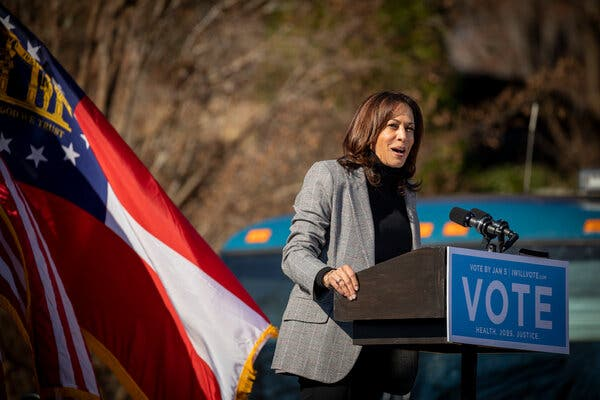 Vice President-elect Kamala Harris at a rally in Georgia on Dec. 21. She plans to return to the state on Sunday.