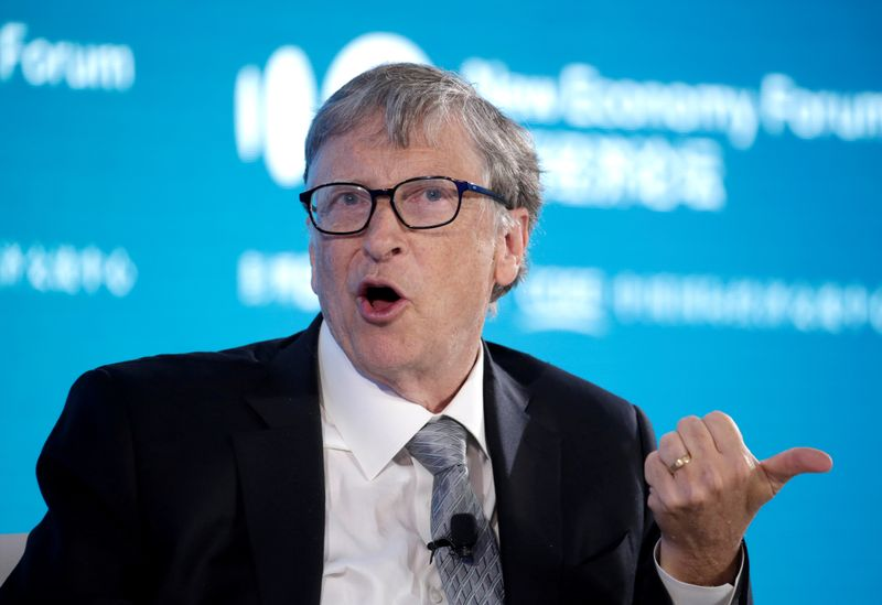 © Reuters. FILE PHOTO: Bill Gates, Co-Chair of Bill & Melinda Gates Foundation, attends a conversation at the 2019 New Economy Forum in Beijing