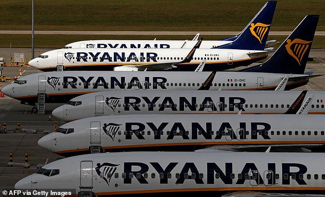 Grounded: Ryanair yesterday said it is now expecting to carry just 26m and 30m passengers in the year to March 31