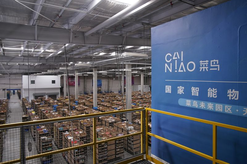 © Reuters. Cainiao's logo, Alibaba's logistics unit, is seen at the warehouse in Wuxi