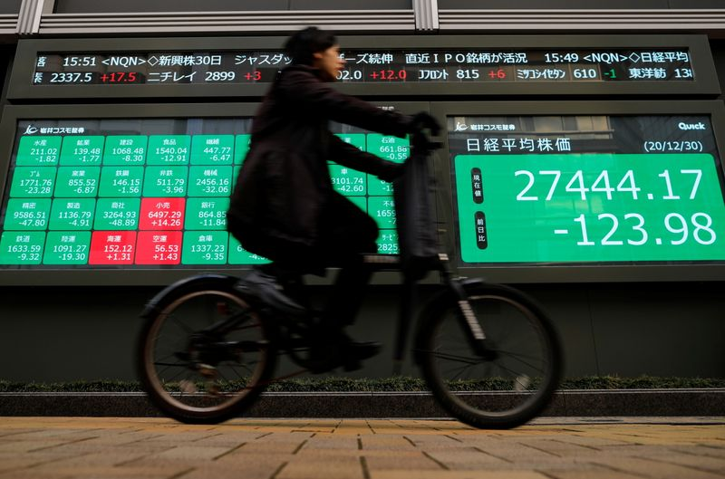 © Reuters. FILE PHOTO: Screen displays Nikkei share average and stock indexes outside a brokerage in Tokyo