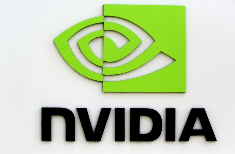 © Reuters. FILE PHOTO: The logo of technology company Nvidia is seen at its headquarters in Santa Clara