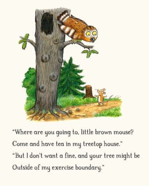 The owl and the mouse from The Gruffalo negotiate the rules of outdoor exercise.