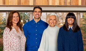 Dishing it out … judges Angela Hartnett, Chris Bavin and Mary Berry with host Claudia Winkleman.