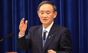 Japanese prime minister Yoshihide Suga holds a new year's press conference at his official residence in Tokyo.