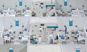 A view shows wards at the Krylatskoye Ice Palace, which was converted into a temporary hospital for people suffering from the coronavirus disease (COVID-19), in Moscow last week.
