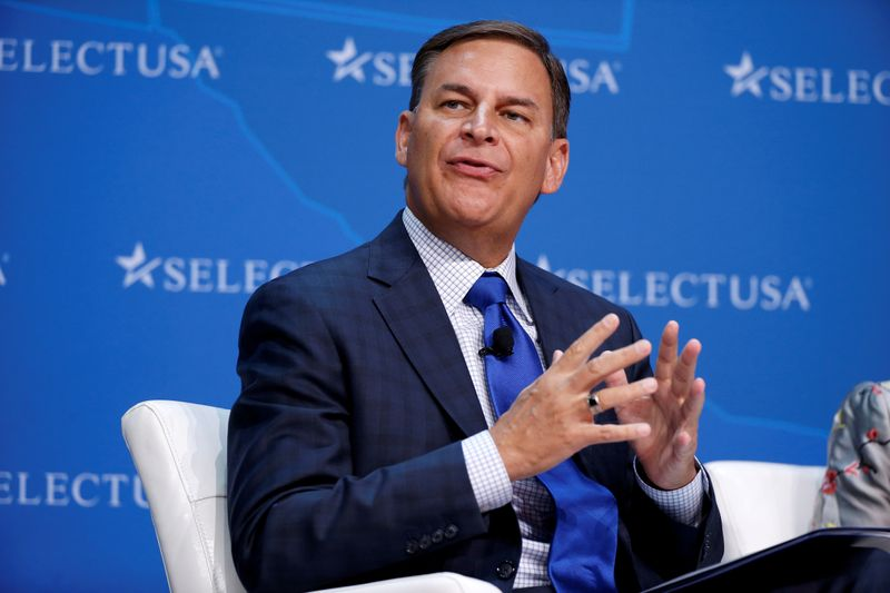 © Reuters. FILE PHOTO: Jay Timmons, president and CEO of the National Association of Manufacturers, speaks at 2017 SelectUSA Investment Summit in Oxon Hill, Maryland