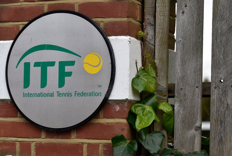 © Reuters. A logo is seen at the entrance to the International Tennis Federation headquarters, where the Tennis Integrity Unit is based, in London